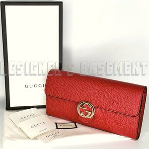 GUCCI red Icon INTERLOCKING G Continental Wallet